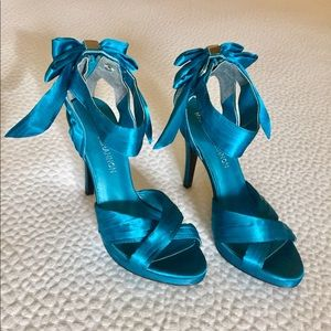 Shoes - Michael Shannon turquoise silk heels
